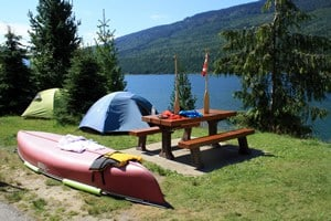 Camping and Canoeing on Revelstoke Lake.