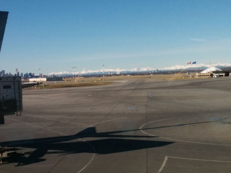YYC International Airport has some pretty amazing views of the city and the mountains