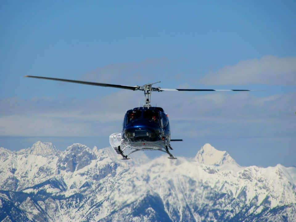 rkheliski heli about to land at the summit hut at Panorama Mountain Resort. Yummy cheese & chocolate fondue to follow!
