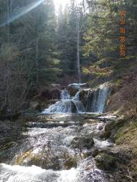 Alberta 2018-05-01 - So many little waterfalls and this decent size one. I'm sure this time of the year is best for that with the snow run off. A nice small hike with a nice picnic area and part of the spring kids were playing around in. Dog friendly trail.
