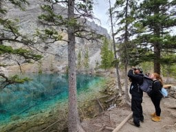 Grassi Lakes  - Checking out the rock climbing going on around the area. Lots of people were up climbing. Plenty of cool activities in this area