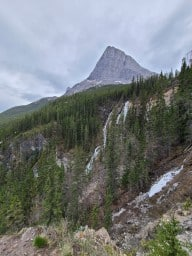 """Grassi Lakes Trail - Here's a beautiful view you get from the """"more difficult"""" trail side of Grassi Lakes up above Canmore. I think they just call this waterfall the Grassi Lakes Waterfalls."""